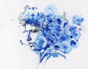 Pirnt on mounted Canvas - Ink Portrait of Bob Dylan